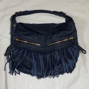 OrYANY Navy Blue Leather Fringe Hobo Tote Bag
